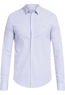 Camisa Masculina Slim Cannes Micro Xadrez - Azul