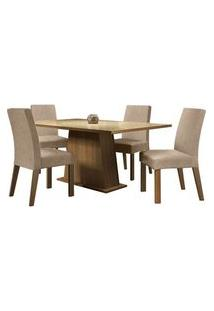 Conjunto Sala De Jantar Madesa Sabrina Mesa Tampo De Vidro Com 4 Cadeiras Rustic/Crema/Imperial Rustic