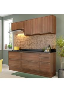 Cozinha Compacta Calábria 7 Portas Com Tampo Rodapé Nogueira/Malt - Multimóveis