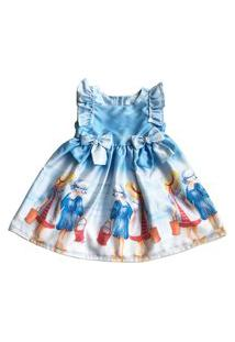 Vestido Estampado Bebê Tóing Azul