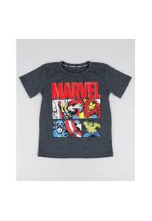 Camiseta Infantil Vingadores Manga Curta Cinza Mescla Escuro