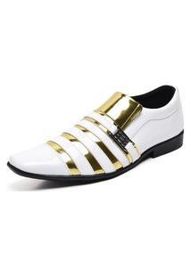 Sapato Social Masculino Top Franca Shoes Verniz Branco Dourado
