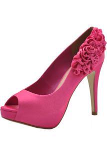 Peep Toe Laura Prado Cetim Italiano Pink