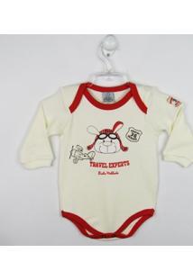 Body Bebê Manga Longa Aviador - Masculino-Creme