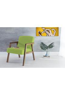 Poltrona Para Sala Com Braços Pés De Madeira Estofada Cor Verde Charlie - Verniz Capuccino \ Tec.942 - 60X74X84 Cm