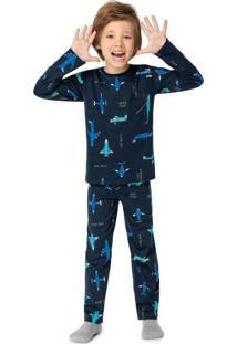 Pijama Azul Marinho Aeronaves Menino
