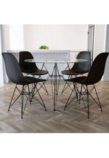 Conjunto De Mesa De Jantar Com 4 Cadeiras Eiffel Iron Preto E Incolor