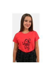 "T-Shirt Camiseta Feminina ""Oh Happy Day"""" Manga Curta Vermelha"""