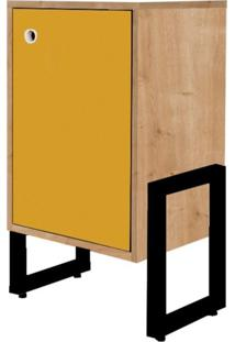 Criado Mudo Wooli 1 Porta Natura/Amarelo - Fit Mobel