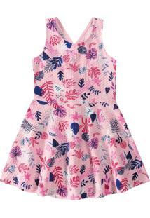 Vestido Evasê Malha Texturizada Menina Rosa Claro - 6