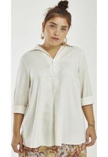 Blusa Em Linho Com Botões Curve & Plus Size