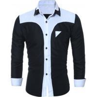 Camisa Masculina Slim Fit Country Manga Longa - Preto b05cb665ec1f6