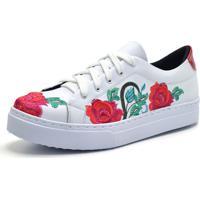 04198f6b6a3 Dafiti. Tênis Indian Line Bordado Floral Branco