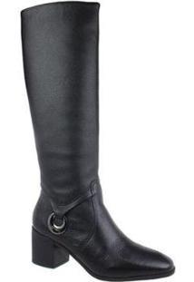 Bota Cano Alto Bottero Leather Feminina - Feminino-Preto