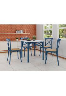 Conjunto De Mesa De Jantar Com 4 Cadeiras E Tampo De Madeira Katrina Azul