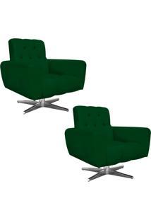 Kit 02 Poltronas Decorativa Pietra Suede Verde Com Base Estrela Giratória Em Aço Cromado - D'Rossi