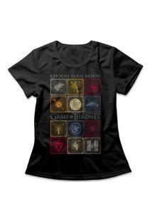 Camiseta Feminina Casas De Westeros Preto