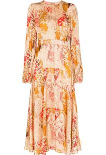 Bytimo Vestido Midi Floral Com Pregas - Vermelho