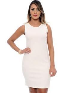 Vestido Tubinho Curto Social Ramona B?Bonnie - Feminino-Off White