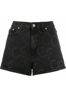 Chiara Ferragni Short Jeans Com Estampa De Logo - Preto