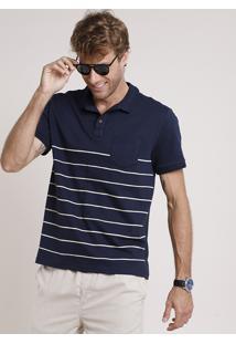 Polo Masculina Comfort Fit Com Listras E Bolso Manga Curta Azul Marinho