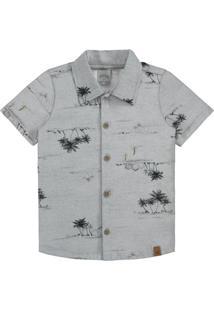 Camisa Meia Malha Cinza