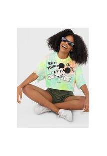 Camiseta Cropped Colcci Tie Dye Mickey Verde/Laranja