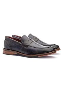Sapato Masculino Loafer Sola De Couro Com Borracha Marinho
