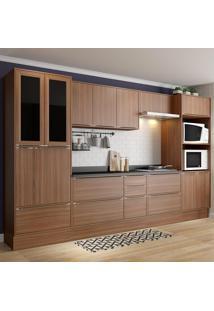 Cozinha Compacta Calábria 14 Portas Com Tampo E Rodapé Nogueira/Malt - Multimóveis