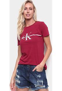 Camiseta Calvin Klein Slim Logo Faixa Feminina - Feminino-Vermelho Escuro