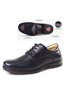 Sapato Confort Em Couro 3900700 Preto 329