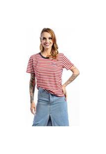 Camiseta Manga Curta Listrada Felling Fine Vermelha