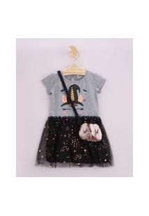 Vestido Infantil Halloween Unicórnio Bruxo Com Tule Manga Curta E Bolsa Em Paetês Cinza Mescla