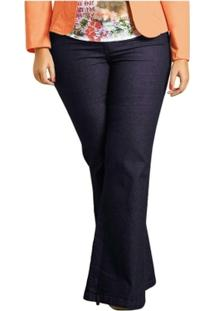 Calça Flare Plus Size Jeans Quintess - Feminino bee22c126f3