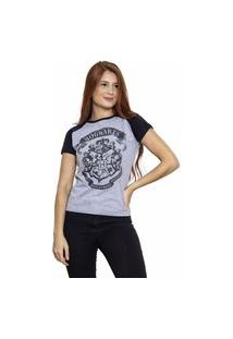 Camiseta Sideway Harry Potter Logo Hogwarts - Cinza/Preto