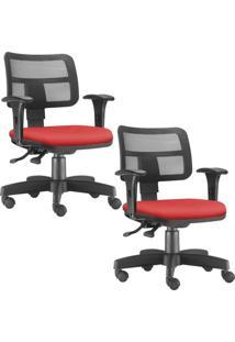 Kit 02 Cadeiras Giratórias Lyam Decor Zip Suede Vermelho
