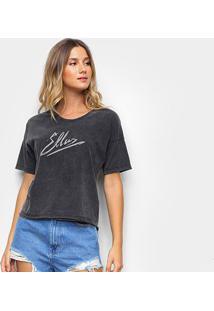 Camiseta Ellus Estampada Feminina - Feminino-Preto