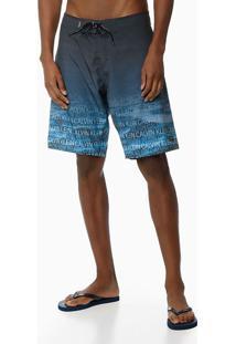 Bermuda Dágua Estamp Degradê Logos - Azul Marinho - P