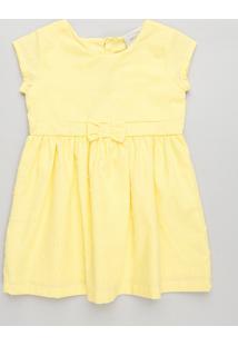 Vestido Infantil Com Laço E Estrela Vazada Manga Curta Decote Redondo Amarelo