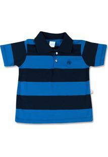 Camiseta Infantil Com Gola Cotton Listrado Cancun - Masculino-Azul