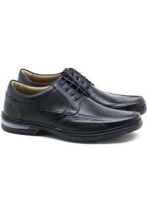 Sapato Social Rafarillo Couro Cadarço Preto Mascul