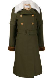 Chloé Trench Coat Com Acabamento Em Pelo - Verde