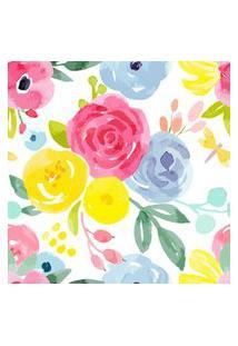 Papel De Parede Floral Aquarela P/ Quarto Feminino 57X270Cm