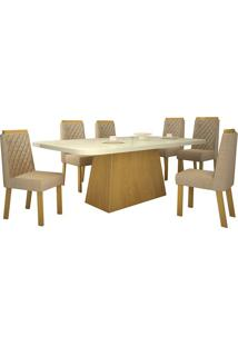 Sala De Jantar Angra 160 Cm Com 6 Cadeiras Noce Veludo Luxo