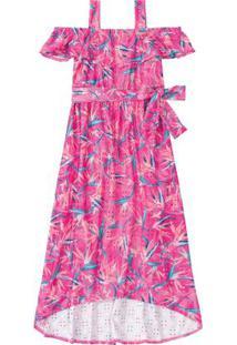 Vestido Rosa Escuro Longo Floral