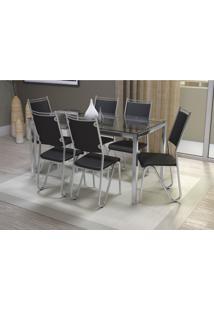 Conjunto Mesa Reno Com 6 Cadeiras Londres Preto E Cromado Kappesberg Crome - Preto - Dafiti
