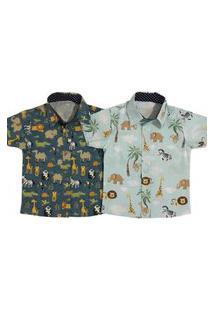 Kit 2 Camisa Estampada Safari Curta Mabu Denim Menino Infantil