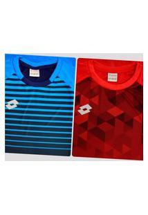 Kit De 2 Camisas Lotto Cubes Azul E Vermelha