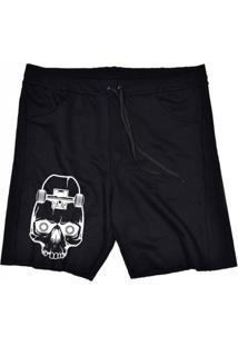 Bermuda Tecido Skull Clothing Sk8 Preto - Preto - Masculino - Dafiti
