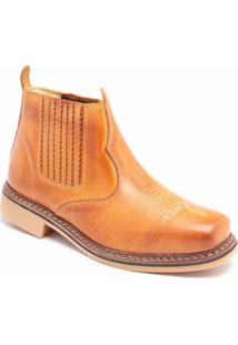 Bota Couro D&R Shoes Masculina - Masculino-Caramelo